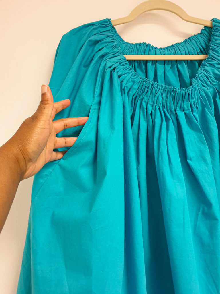 A second picture of the gathered skirt, this time highlighting the in-seam pocket.