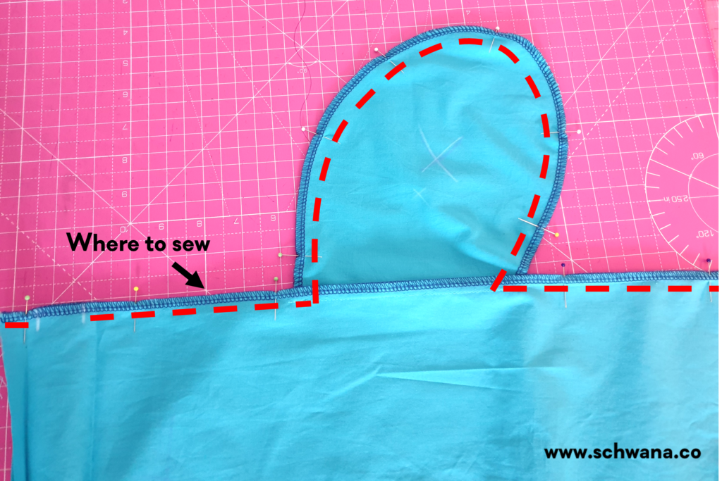 How to sew the front and back skirt pieces together after the pockets have been attached.