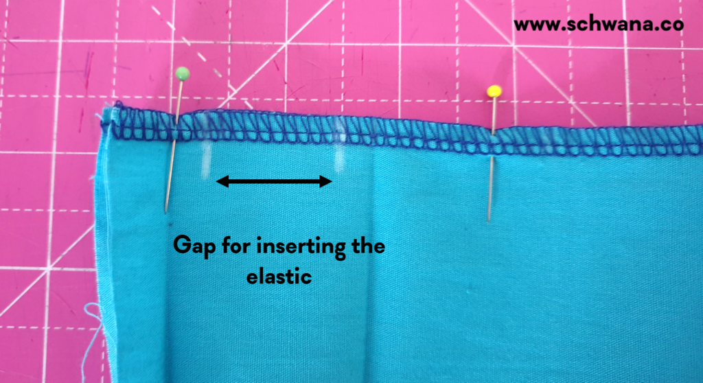 Showing the gap that must be left unsewn. Will be the opening of the waistband.