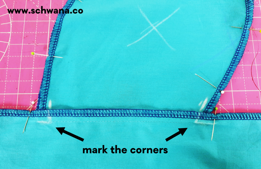 How to mark the corners with chalk.