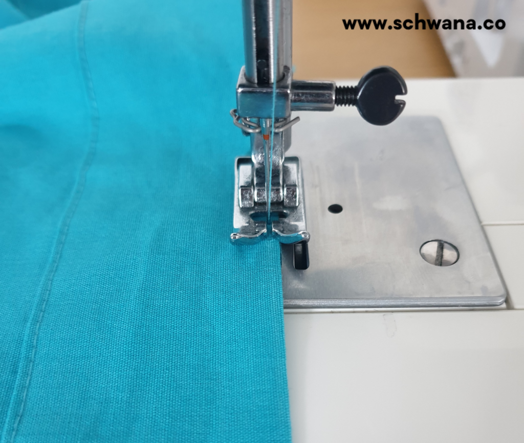 How to topstitch the faux waistband.