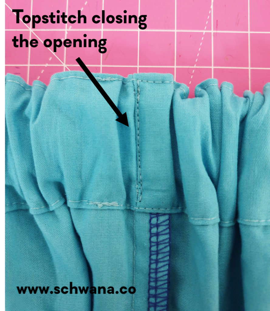How to topstitch the waistband opening closed.