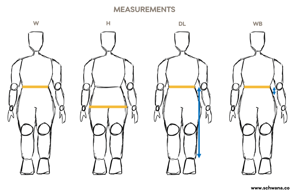 Illustrations of the measurements needed to sew the gathered skirt.